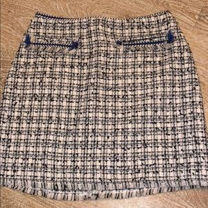 NWT H&M navy blue white tweed highwaist mini skirt